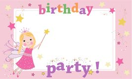 Birthday party photography frame. Fairy birthday theme. Happy birthday greeting card. Background Stock Images