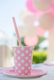 Birthday Party Pink Cup with Polka Dots Stock Image