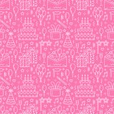 Birthday party pink seamless pattern, flat line illustration. Vector icons of event agency, wedding organization - cake. Balloons, gifts, invitation, kids vector illustration