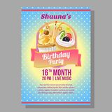 Birthday party poster with cupcakes. Additional in vector eps 10 Stock Photography