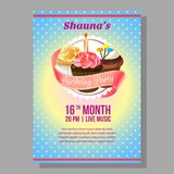 Birthday party poster with cupcakes. Template of birthday party poster with cupcakes Royalty Free Stock Photo