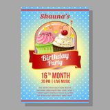 Birthday party poster with cute cupcakes. Additional in vector eps 10 file Stock Photography