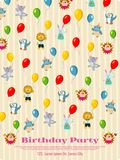 Birthday party poster design - cartoon animals fly with balloons. Background. Vector illustration Royalty Free Stock Photography