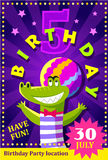 Birthday party poster or flier for kids with a cute crocodile Royalty Free Stock Photo