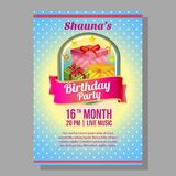 Birthday party poster with gift box badge. Additional in vector eps 10 file Stock Image