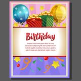 Birthday party poster with gift box. Additional in vector eps 10 file Stock Photo