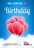 Birthday party poster. Sky clouds happy birthday balloons banner flyer Royalty Free Stock Images