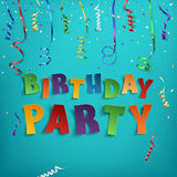 Birthday party poster template. Birthday party poster template with confetti and colorful ribbons on blue background. Vector illustration Stock Photography