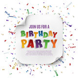 Birthday party poster template. Stock Photography