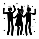 Birthday Party Posters with People Silhouettes. Birthday party poster with people black silhouettes who dance in crown and festive hat isolated cartoon vector Stock Image