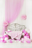 Birthday party room background with gift boxes. Kids celebration. Presents girl or woman Stock Image
