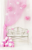 Birthday party room background with gift boxes. Kids celebration. Presents girl or woman Royalty Free Stock Image