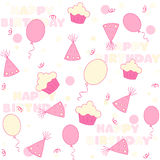 Birthday party seamless pattern. Colorful balloons , cupcakes, confetti , hat and Happy birthday text seamless party background Stock Illustration