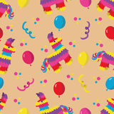 Birthday party seamless pattern with colorful pinata, balloons a Royalty Free Stock Photo