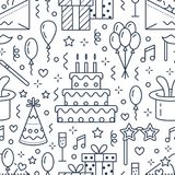 Birthday party seamless pattern, flat line illustration. Vector icons of event agency, wedding organization - cake. Balloons, gifts, invitation, kids vector illustration
