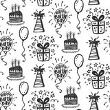 Birthday party seamless patterns with hand drawn doodles Royalty Free Stock Photos