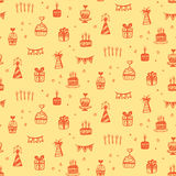 Birthday party seamless patterns with hand drawn doodles Royalty Free Stock Images