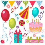 Birthday party set Royalty Free Stock Image