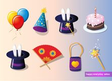 Birthday and party set Stock Photos