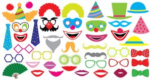 Birthday party set. Clown, hat, cap, glasses, lips,  mustaches, tie and etc., icons Royalty Free Stock Photos