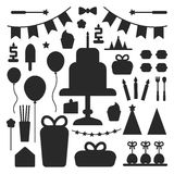 Birthday party set icons or elements Royalty Free Stock Photo