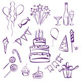 Birthday party set vector  illustration Royalty Free Stock Image