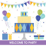 Birthday party sets. With bunting flag, party cake and gift design Stock Image