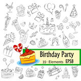 Birthday Party Sketch Set Royalty Free Stock Image