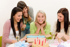 Birthday party - surprised woman celebrate royalty free stock images