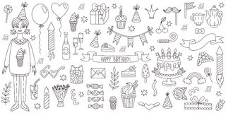 Birthday party symbols doodle line vector set. Birthday party symbols doodle line black and white vector set Royalty Free Stock Image