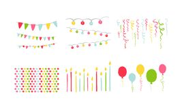 Birthday party symbols set, colorful carnival festive design elements with colorful balloons, flags, decorative ribbons. Vector Illustration isolated on a white vector illustration