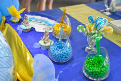 Birthday party table decoration,  candies in jars Royalty Free Stock Image
