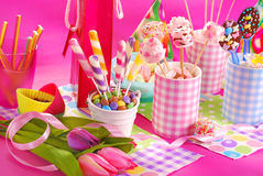 Birthday party table with flowers and sweets  for kids Stock Photo
