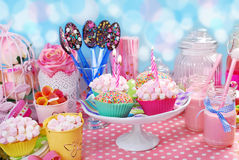Birthday party table for kids Royalty Free Stock Image