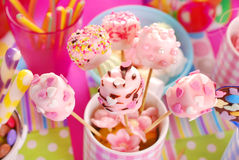 Birthday party table with marshmallow pops and other sweets for Royalty Free Stock Image