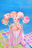 Birthday party table with pink marshmallow pops  for kids Royalty Free Stock Photos
