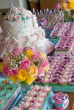 Birthday party table Stock Images