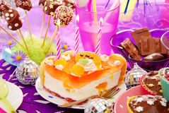 Birthday party table with sweets for child Royalty Free Stock Photography