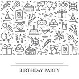 Birthday party theme horizontal banner. Set of elements of cake, present, champagne, disco, firework and other entertainment relat. Birthday party theme Royalty Free Stock Image