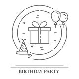 Birthday party theme horizontal banner. Set of elements of cake, present, champagne, disco, firework and other. Birthday party theme horizontal banner. Set of Royalty Free Stock Photo