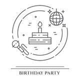 Birthday party theme horizontal banner. Set of elements of cake, present, champagne, disco, firework and other. Birthday party theme horizontal banner. Set of Stock Images