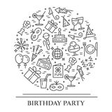 Birthday party theme horizontal banner. Set of elements of cake, present, champagne, disco, firework and other entertainment relat. Birthday party theme Royalty Free Stock Images