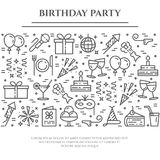 Birthday party theme horizontal banner. Set of elements of cake, present, champagne, disco, firework and other. Birthday party theme horizontal banner. Set of Stock Photography