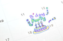 Birthday party on time planner Royalty Free Stock Image