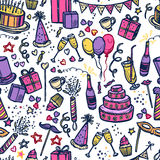 Birthday party time seamless pattern. Birthday celebration party time attributes symbols and accessories colorful pictograms  seamless tileable paper pattern Royalty Free Stock Photos