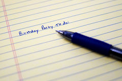 Birthday Party To Do List on Paper with Blue Pen Stock Photos