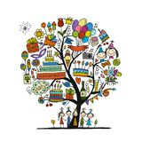 Birthday party tree for your design royalty free illustration
