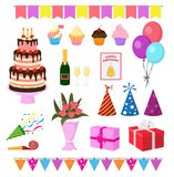 Birthday party vector anniversary cartoon kids happy birth cake or cupcake celebration with gifts and birthday balloons. For children or adults set illustration Royalty Free Stock Photo