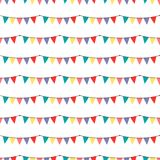 Birthday party vector celebratory seamless pattern with garlands balloons holiday confetti hearts surprise carnival. Background decoration. Fun greeting royalty free illustration