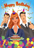 Birthday party vector illustration, friends with presents, gifts, holding cake, wearing celebration hats. Royalty Free Stock Photography